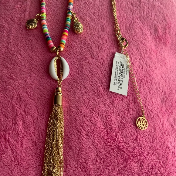 LILLY PULITZER long necklace (heishi, palm shells)